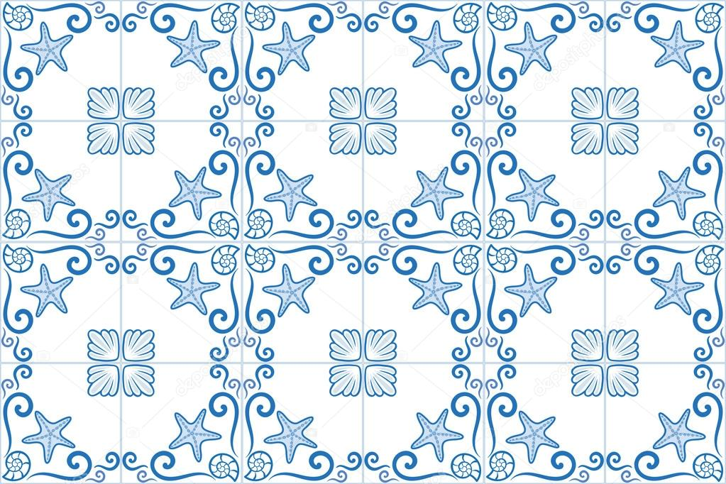 Ornate azulejo styled tiles with seaside theme. Starfish and shells. Marine theme in bleu color. Vector illustration. Portuguese and brazilian tiles.