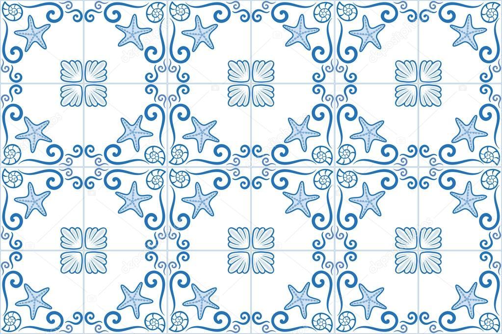 azulejo fleuri style carreaux avec th me bord de mer toile de mer et coquillages th me marin. Black Bedroom Furniture Sets. Home Design Ideas