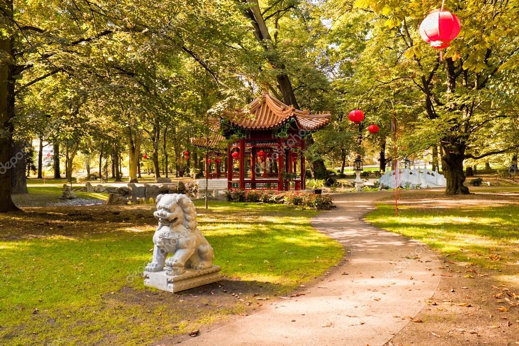 Charming Chinese Garden With Pagoda Pavilion, Lanterns And Guarding Lion In Lazienk  Park (Royal Baths Park), Warsaw, Poland U2014 Photo By Slowcentury1