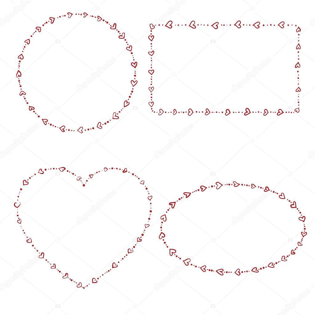 4 marcos de perlas en forma de corazón — Archivo Imágenes ...