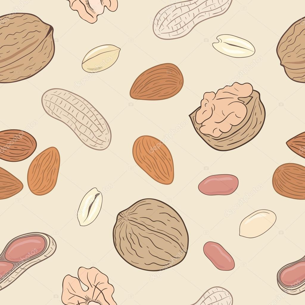 Assorted nuts seamless pattern