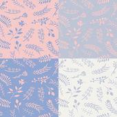 Fotografie Sada 4 květinové vektorové bezešvé vzory