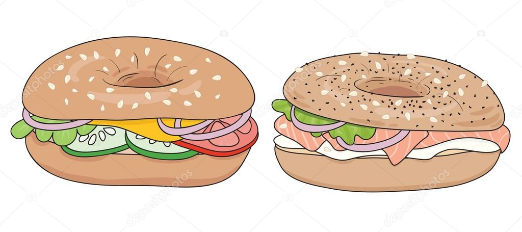 set of 2 fresh bagel sandwiches salmon and cream cheese vegetables rh depositphotos com Bagel Cartoon Clip Art Hamburger Clip Art