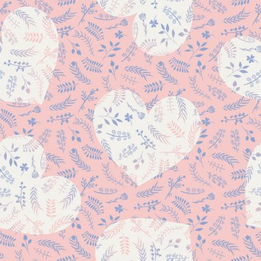 Floral ornate romantic doodle seamless pattern with hearts