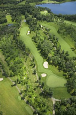 Aerial view of a golf course in summer