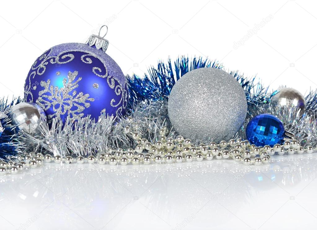 Blue and silver Christmas decorations on a white background — Photo by ...