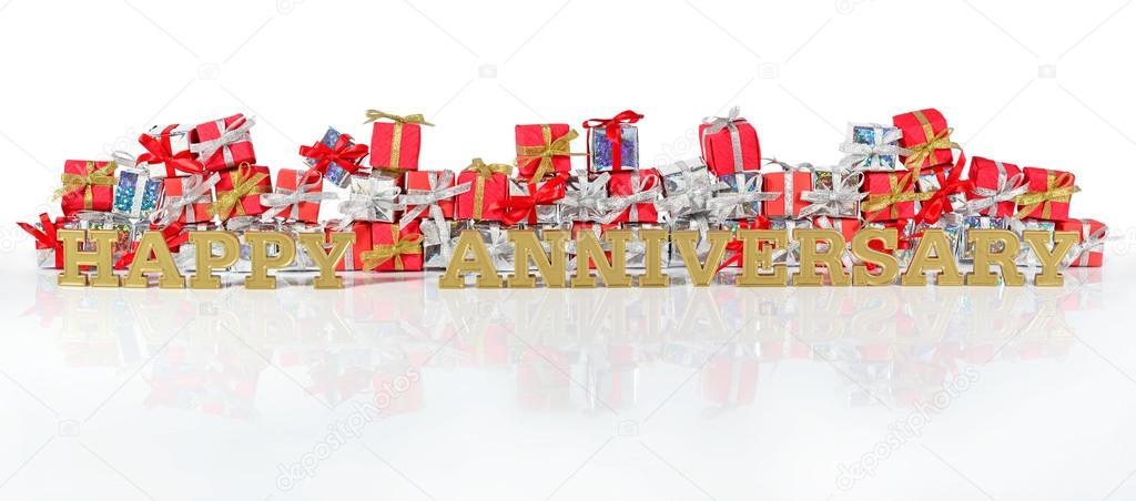 Cadeaux De Texte Et Rouge Et Argent Doré Joyeux Anniversaire