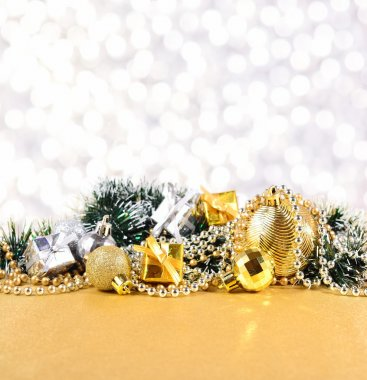 Christmas decorations on a silvery background