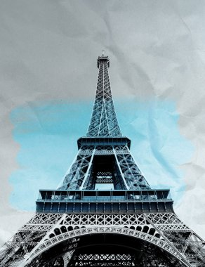 Paris, Eiffel tower on paper texture in black and white.