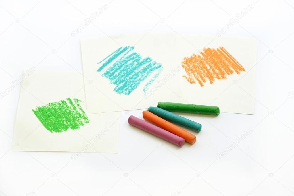 Farbe Wachs Pastell Farbstift auf Whitepapers — Stockfoto ...