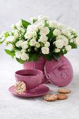 Almond oatmeal cookies and tea