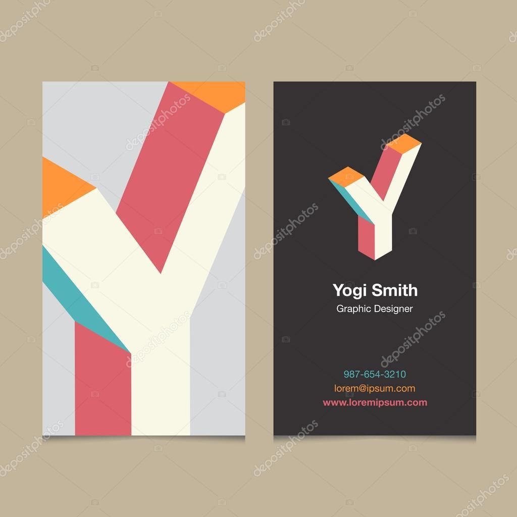 Lettre Dalphabet De Logo Y Avec Le Modele Carte Visite Illustration Stock