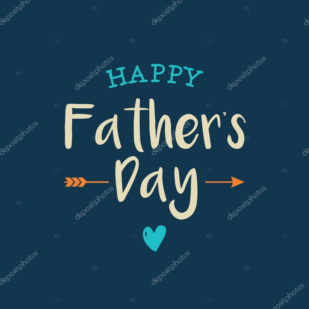 happy fathers day card with icons heart and arrow stock vector