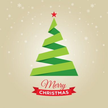 Merry christmas card, with graphic christmas tree