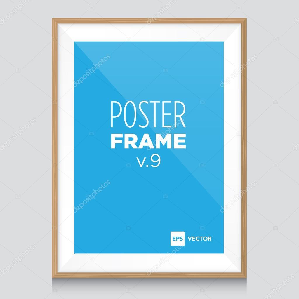 plantilla de maqueta cartel con marco de madera — Archivo Imágenes ...