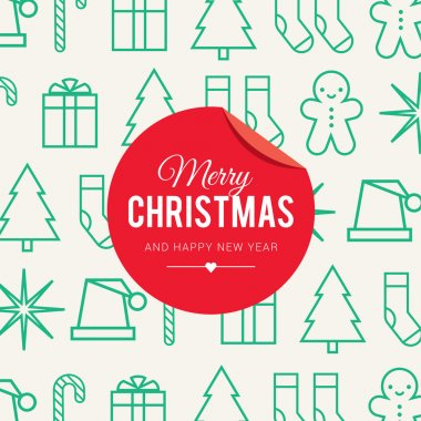Christmas card with christmas icon and symbol