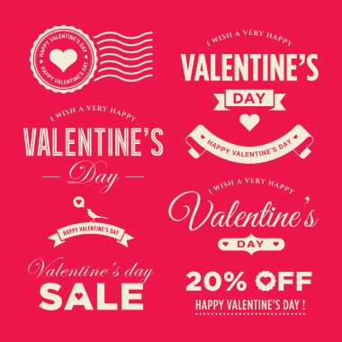 Valentines day set of label, badges, stamp and design elements clip art vector