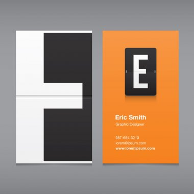 Business card with a letter logo, alphabet letter E