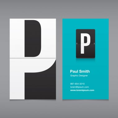 Business card with a letter logo, alphabet letter P