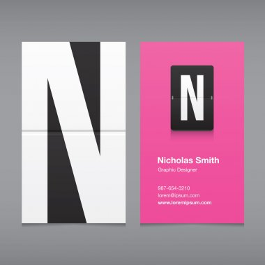 Business card with a letter logo, alphabet letter N