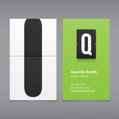 Business card with a letter logo, alphabet letter Q