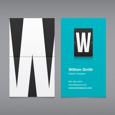 Business card with a letter logo, alphabet letter W