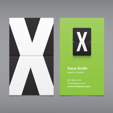 Business card with a letter logo, alphabet letter X