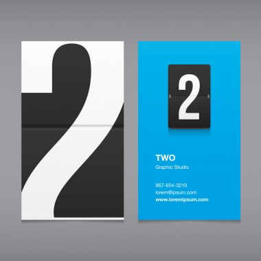 Business card with a number logo, numeral two