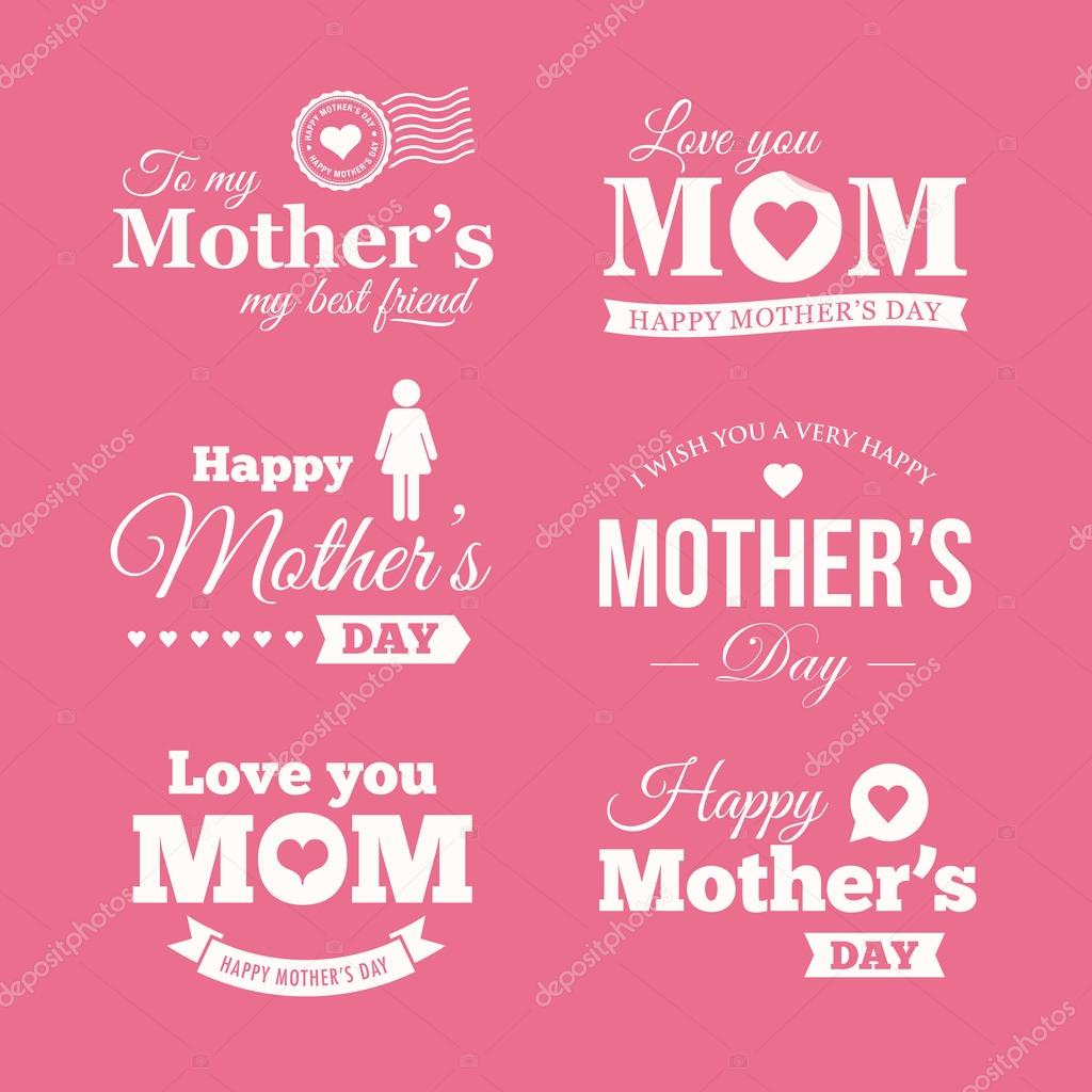 Happy mothers day. Set of badges, logo, labels, signs and symbols