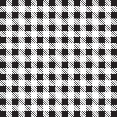 Gingham tablecloth pattern background black and white