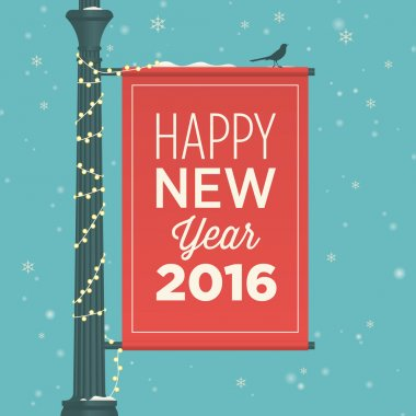 Happy new year 2016 card, street sign