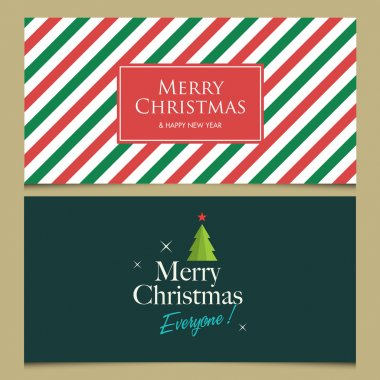 Christmas cards with christmas tree, stars, logo title and christmas pattern background