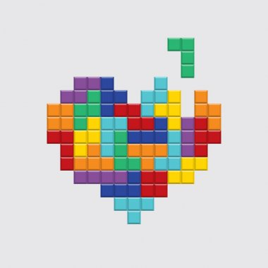 Valentines day card, video game pixel colorful heart.