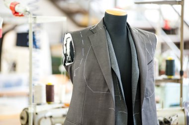 Half finished jacket in a tailors shop
