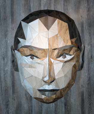 Geometric inlay decorative wooden face