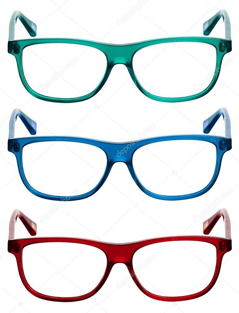 Drei bunte Sonnenbrille oder Auge Brillenfassungen — Stockfoto ...