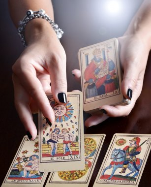 Hands Performing Tarot Card Reading