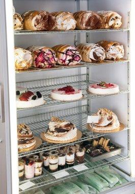 Semifreddo cakes and desserts in a refrigerator