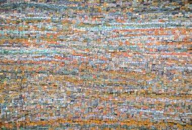 Old orange and blue mosaic tile background