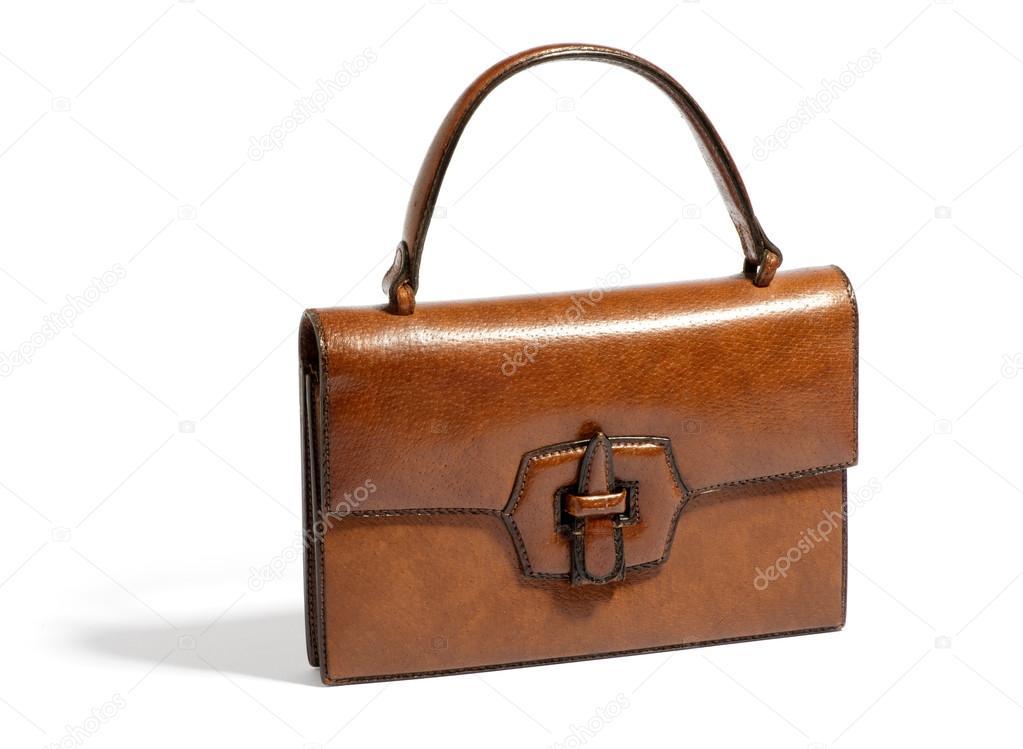 91213a1967729 Alte Vintage braun Damen Leder Handtasche mit einem Handle und vordere  Spange isoliert auf weiss in einem Mode-Accessoires und  Sammlerstücke-Konzept — Foto ...