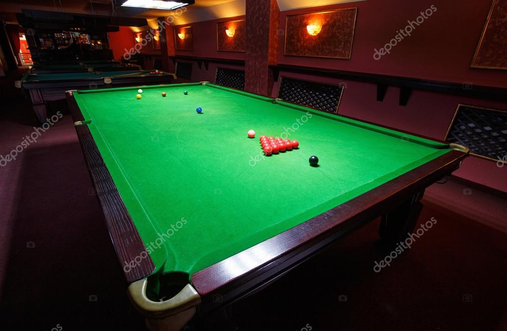 A snookerTable set up for a game front view u2014 Photo by serkucher & snooker Table set up for game u2014 Stock Photo © serkucher #100782284