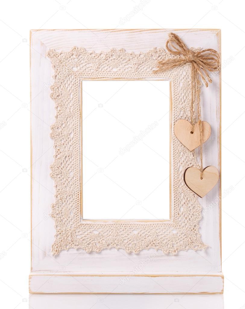 Holz Bilderrahmen isoliert auf weißem Hintergrund mit ...