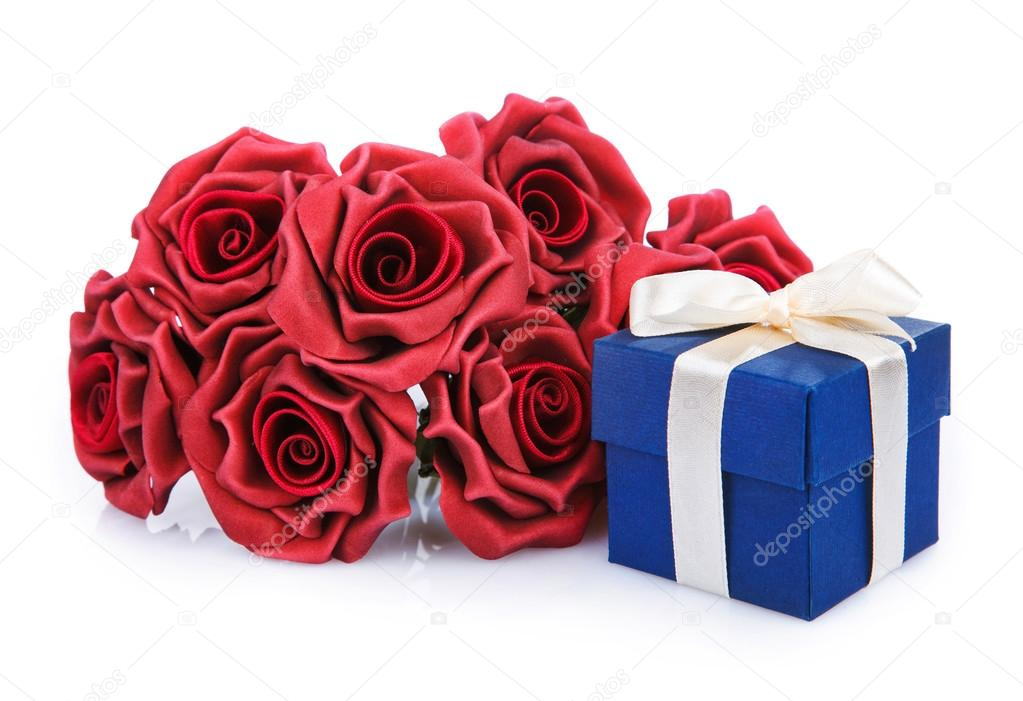 Red Flowers And Blue Gift Box Stock Photo