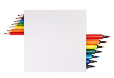 Colorful marker pens and pensils on a white sheet of paper, place for text isolated on a white background stock vector
