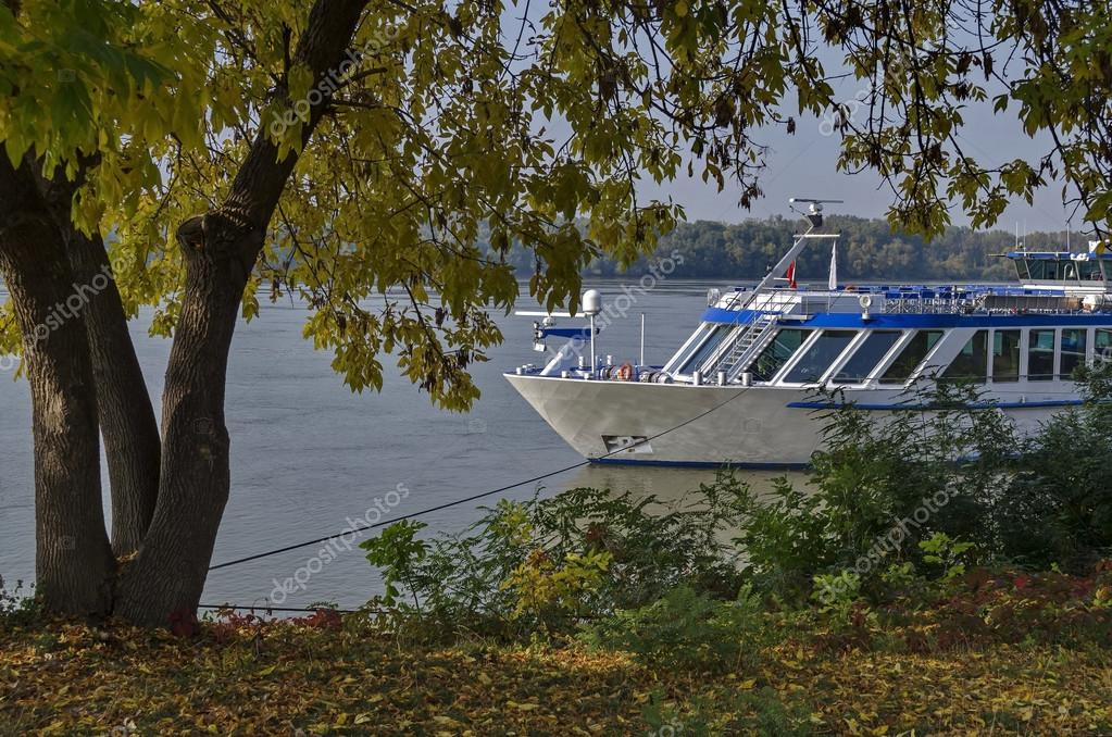 passenger cruise ship in ruse port at danube river stock photo