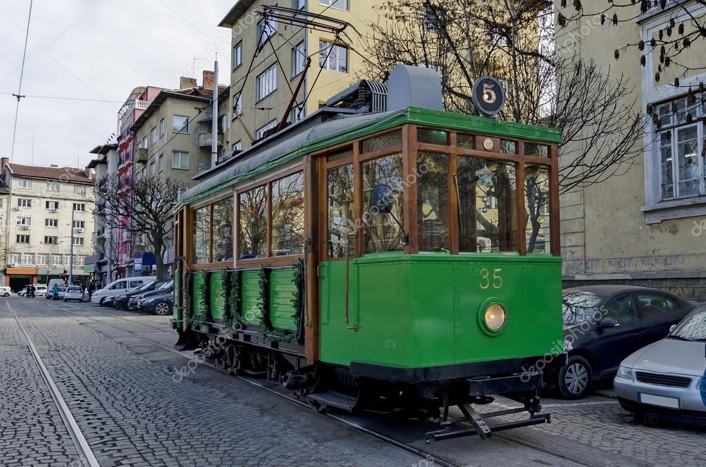 RETRO Vintage Tram Siemens on the streets of Sofia in december 2015, Bulgaria.
