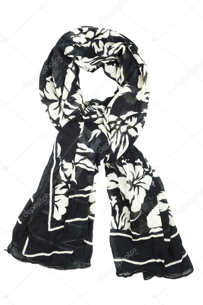 1d68cc5ff8a3 Foulard en soie. Foulard soie noir isolé sur fond blanc– images de stock  libres de droits