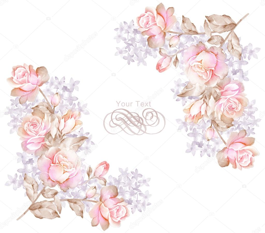 Watercolor floral illustration collection