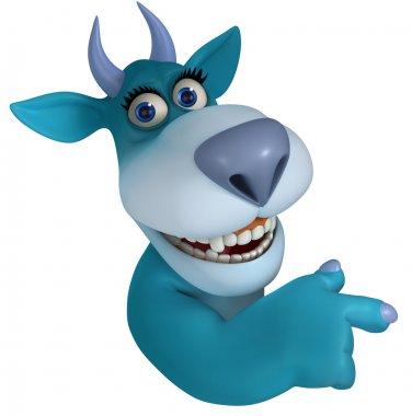 blue cartoon monster 3d
