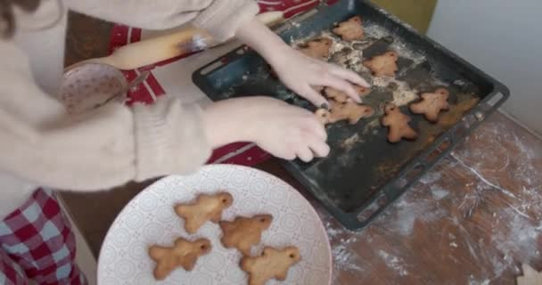A young girl takes it out of the oven gingerbreads for Christmas and New Year in the shape of a spruces and little men and puts them on a large dish